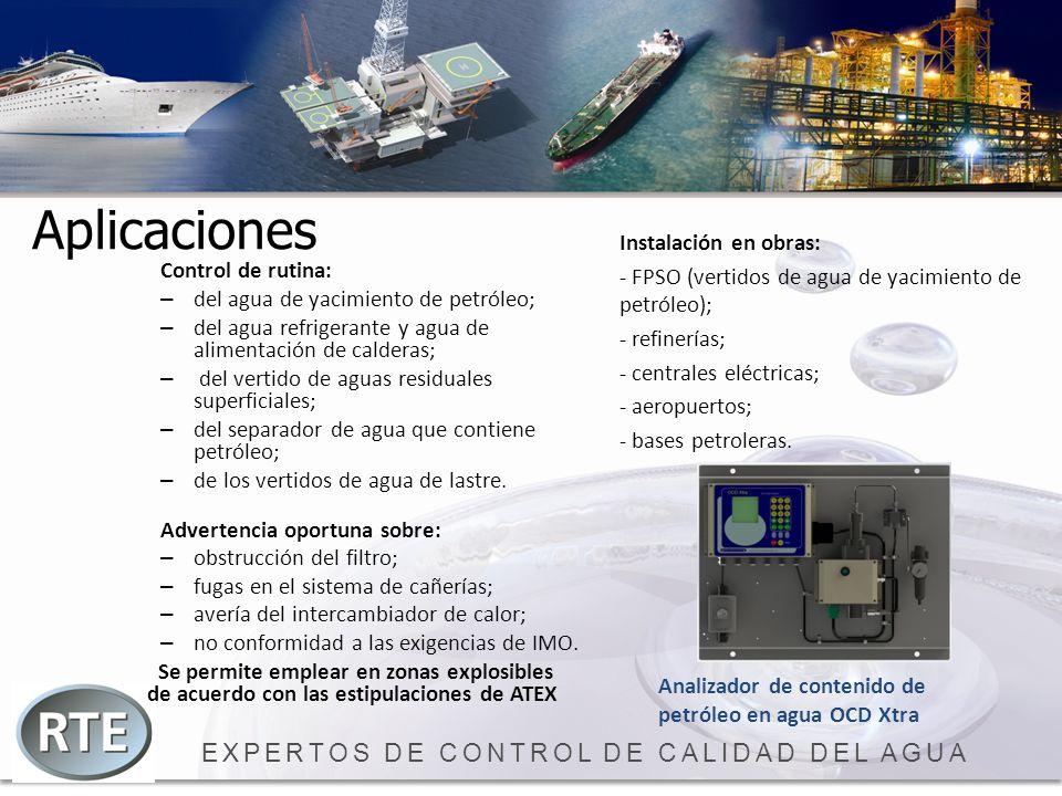 EXPERTOS DE CONTROL DE CALIDAD DEL AGUA Aplicaciones Control de rutina: – del agua de yacimiento de petróleo; – del agua refrigerante y agua de alimen