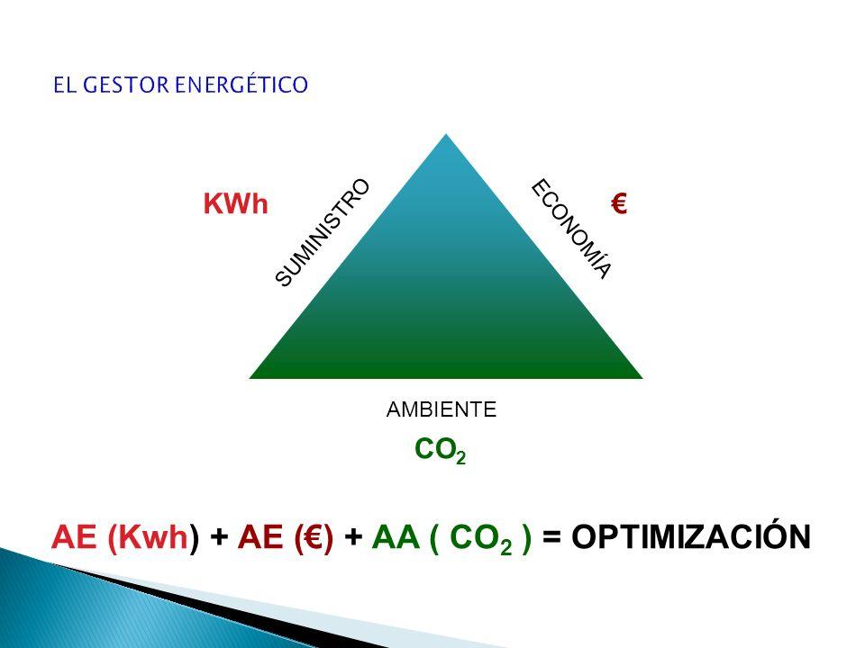 ECONOMÍA SUMINISTRO AMBIENTE KWh CO 2 AE (Kwh) + AE () + AA ( CO 2 ) = OPTIMIZACIÓN