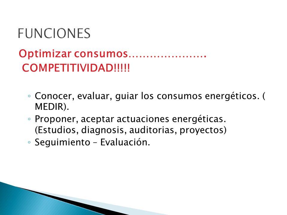Optimizar consumos…………………. COMPETITIVIDAD!!!!. Conocer, evaluar, guiar los consumos energéticos.