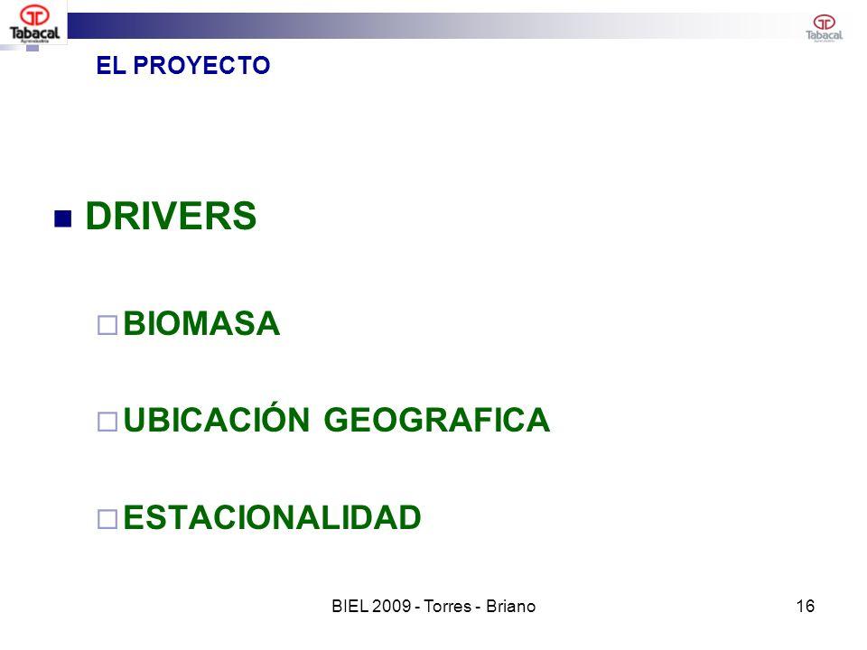 EL PROYECTO DRIVERS BIOMASA UBICACIÓN GEOGRAFICA ESTACIONALIDAD 16BIEL 2009 - Torres - Briano