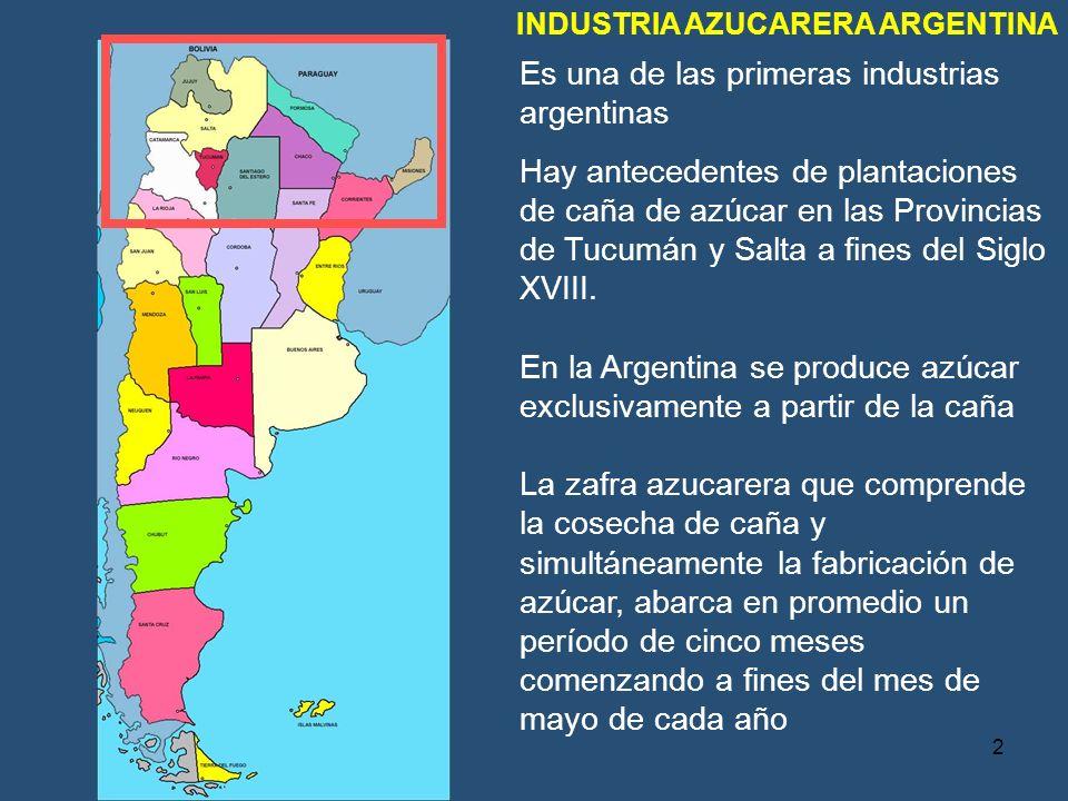 Es una de las primeras industrias argentinas Hay antecedentes de plantaciones de caña de azúcar en las Provincias de Tucumán y Salta a fines del Siglo