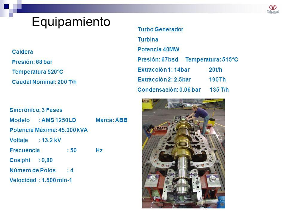 Equipamiento Caldera Presión: 68 bar Temperatura 520°C Caudal Nominal: 200 T/h Turbo Generador Turbina Potencia 40MW Presión: 67bsd Temperatura: 515°C