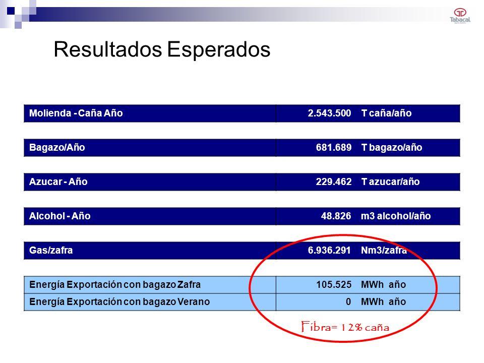 Resultados Esperados Molienda - Caña Año2.543.500T caña/año Bagazo/Año681.689T bagazo/año Azucar - Año229.462T azucar/año Alcohol - Año48.826m3 alcohol/año Gas/zafra6.936.291Nm3/zafra Energía Exportación con bagazo Zafra105.525MWh año Energía Exportación con bagazo Verano0MWh año Fibra= 12% caña