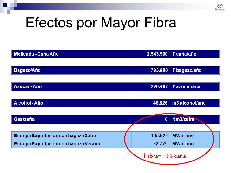 Efectos por Mayor Fibra Molienda - Caña Año2.543.500T caña/año Bagazo/Año793.980T bagazo/año Azucar - Año229.462T azucar/año Alcohol - Año48.826m3 alc