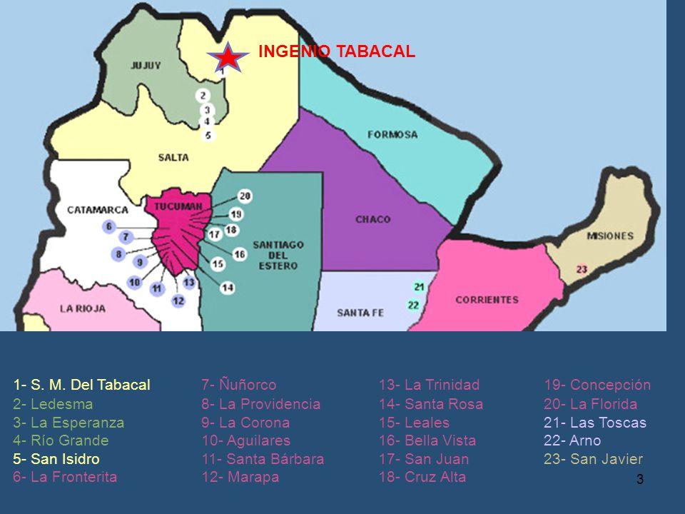 1- S. M. Del Tabacal 2- Ledesma 3- La Esperanza 4- Río Grande 5- San Isidro 6- La Fronterita 7- Ñuñorco 8- La Providencia 9- La Corona 10- Aguilares 1