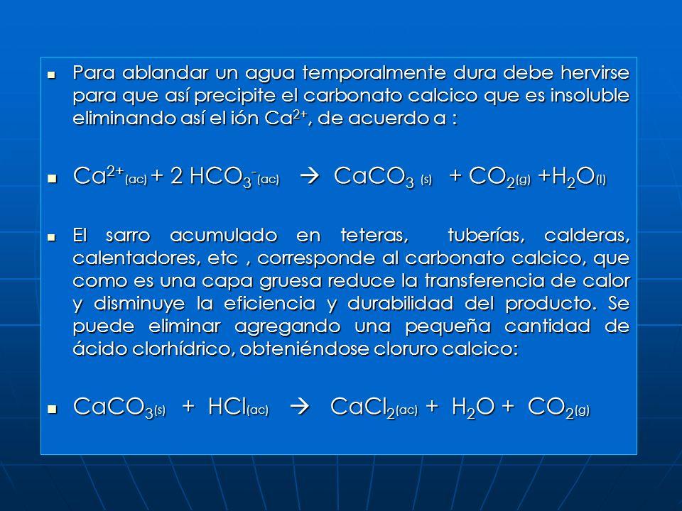 El agua que contiene cantidades apreciables de minerales de calcio y magnesio o sales de Fe se denomina agua dura.(estas sales están disueltas como io
