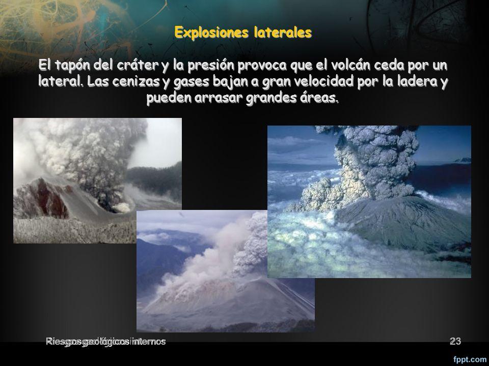 23 Explosiones laterales El tapón del cráter y la presión provoca que el volcán ceda por un lateral.