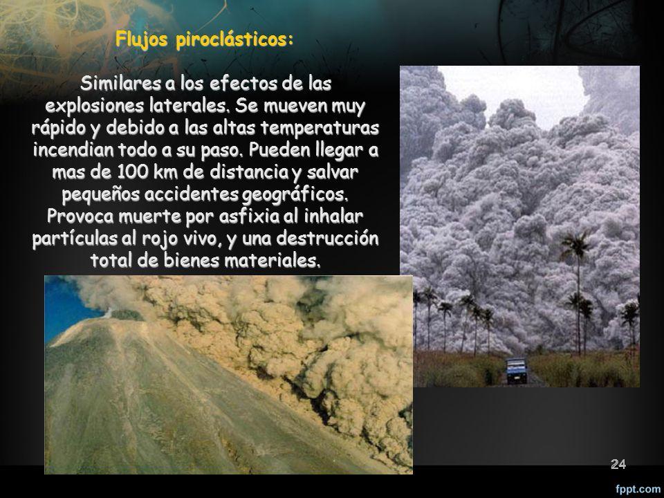 24 Riesgos geológicos internos 24 Flujos piroclásticos: Similares a los efectos de las explosiones laterales.