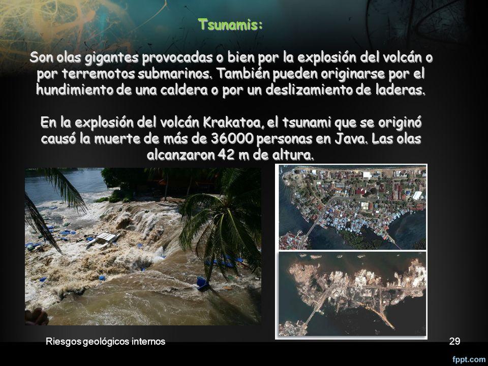 29 Tsunamis: Son olas gigantes provocadas o bien por la explosión del volcán o por terremotos submarinos.