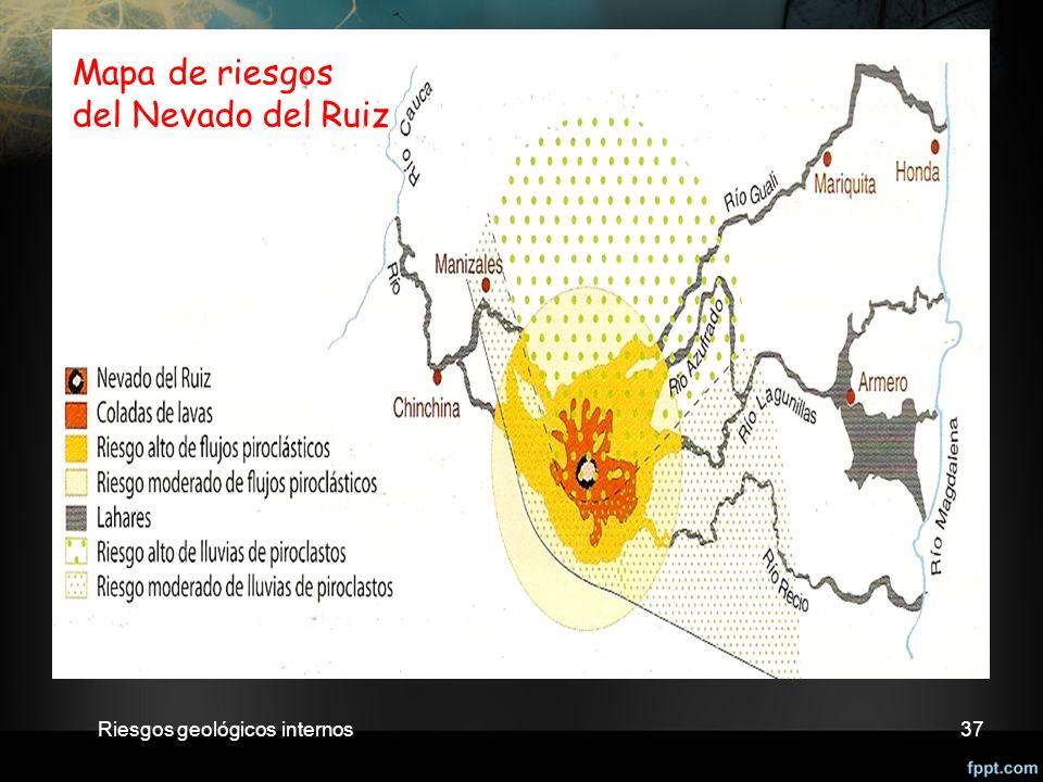 Riesgos geológicos internos37 Mapa de riesgos del Nevado del Ruiz