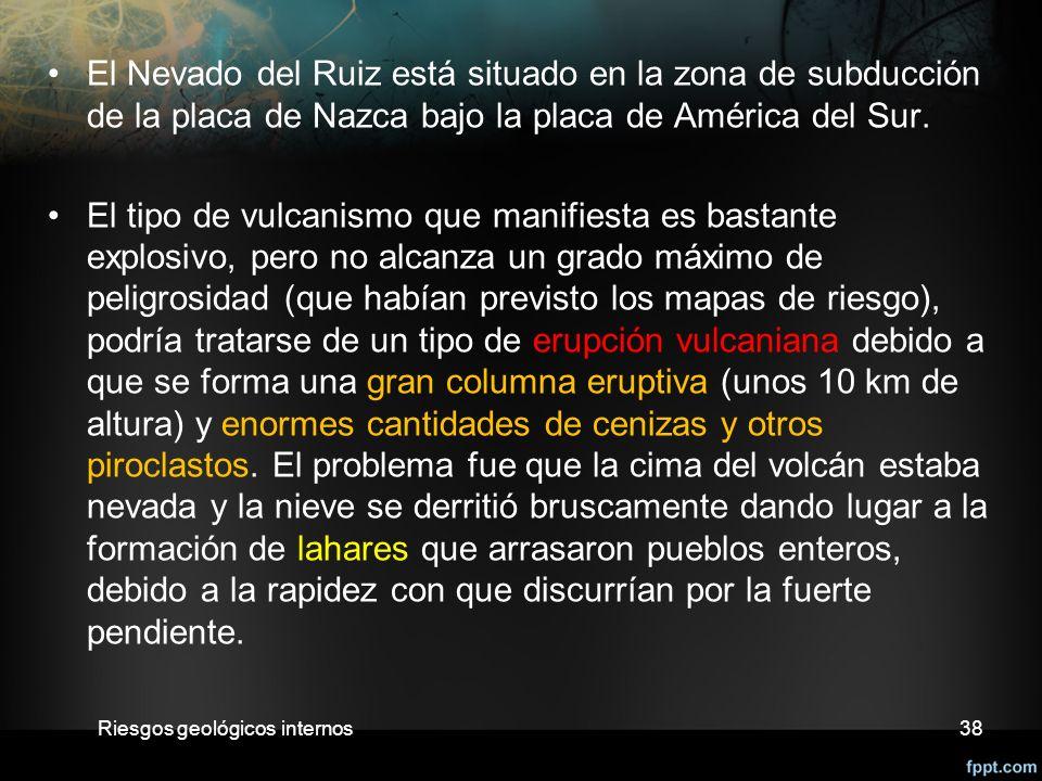 El Nevado del Ruiz está situado en la zona de subducción de la placa de Nazca bajo la placa de América del Sur.