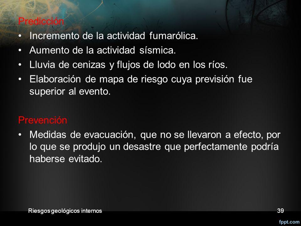 Predicción Incremento de la actividad fumarólica.Aumento de la actividad sísmica.