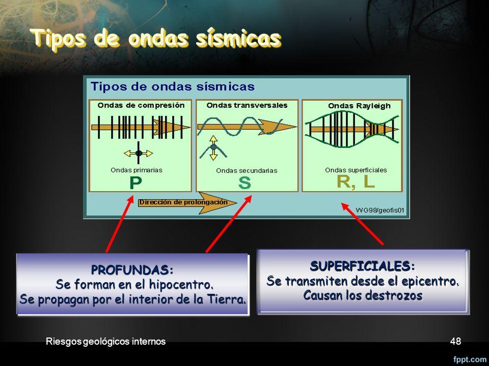 Riesgos geológicos internos48 Tipos de ondas sísmicas Tipos de ondas sísmicas PROFUNDAS: Se forman en el hipocentro.
