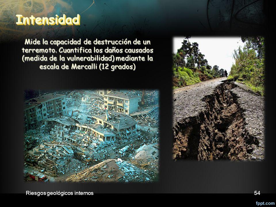 Riesgos geológicos internos54 Intensidad Intensidad Mide la capacidad de destrucción de un terremoto.