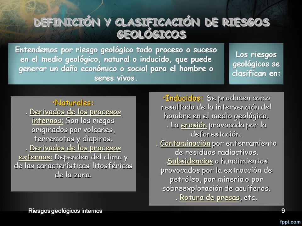 Riesgos geológicos internos9 DEFINICIÓN Y CLASIFICACIÓN DE RIESGOS GEOLÓGICOS DEFINICIÓN Y CLASIFICACIÓN DE RIESGOS GEOLÓGICOS Naturales:Naturales:.