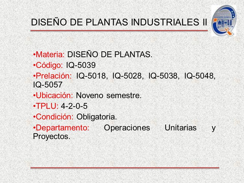 DISEÑO DE PLANTAS INDUSTRIALES II Materia: DISEÑO DE PLANTAS.