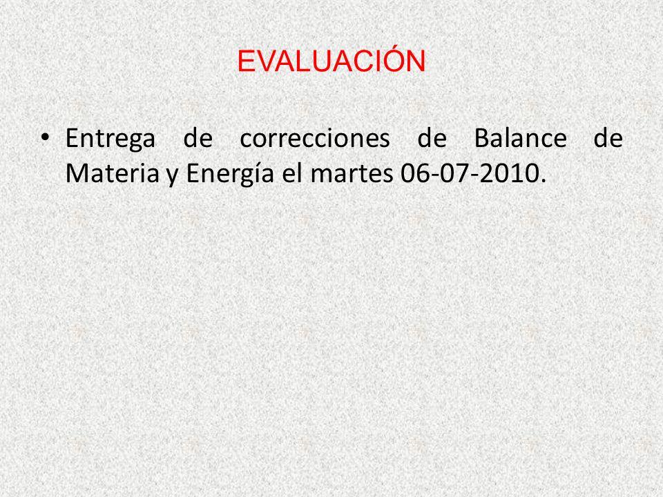 EVALUACIÓN Entrega de correcciones de Balance de Materia y Energía el martes 06-07-2010.