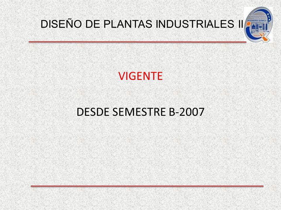 DISEÑO DE PLANTAS INDUSTRIALES II VIGENTE DESDE SEMESTRE B-2007