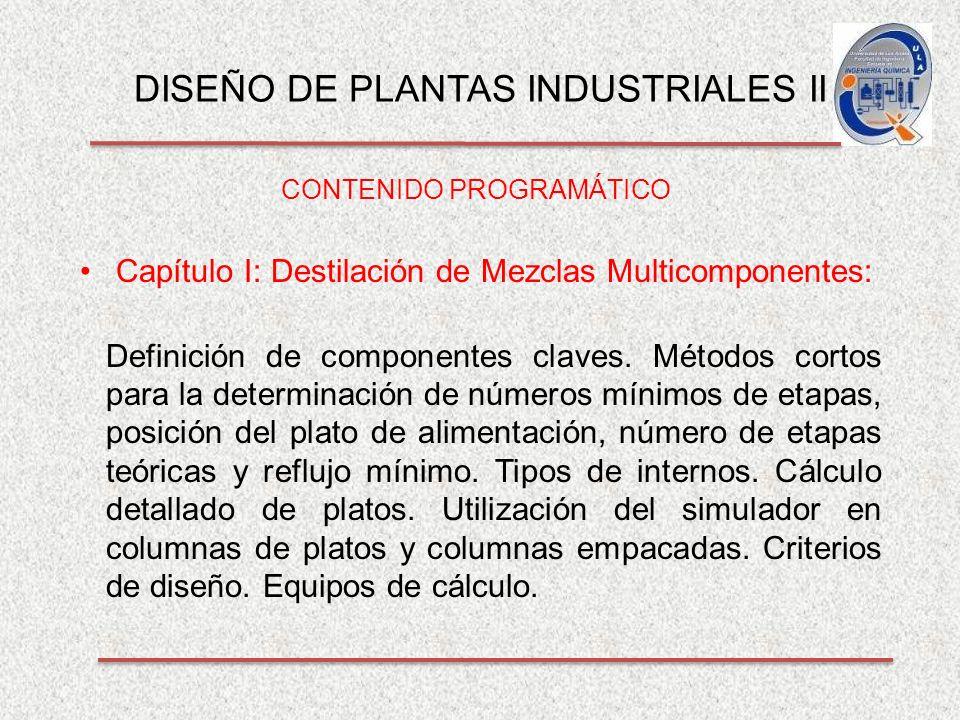DISEÑO DE PLANTAS INDUSTRIALES II CONTENIDO PROGRAMÁTICO Capítulo I: Destilación de Mezclas Multicomponentes: Definición de componentes claves.