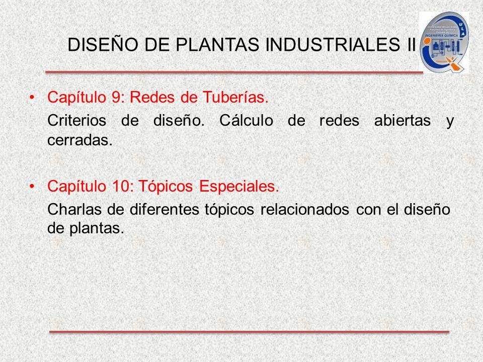 DISEÑO DE PLANTAS INDUSTRIALES II Capítulo 9: Redes de Tuberías.