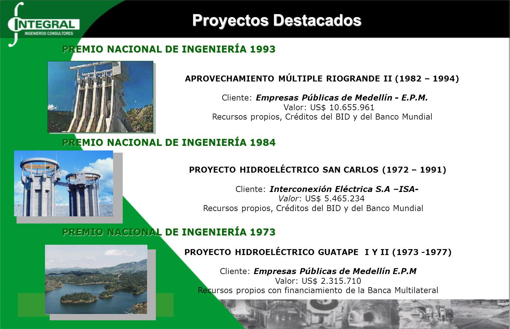 APROVECHAMIENTO MÚLTIPLE RIOGRANDE II (1982 – 1994) Cliente: Empresas Públicas de Medellín - E.P.M. Valor: US$ 10.655.961 Recursos propios, Créditos d