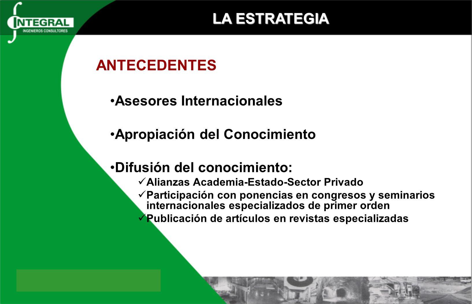 LA ESTRATEGIA ANTECEDENTES Asesores Internacionales Apropiación del Conocimiento Difusión del conocimiento: Alianzas Academia-Estado-Sector Privado Pa