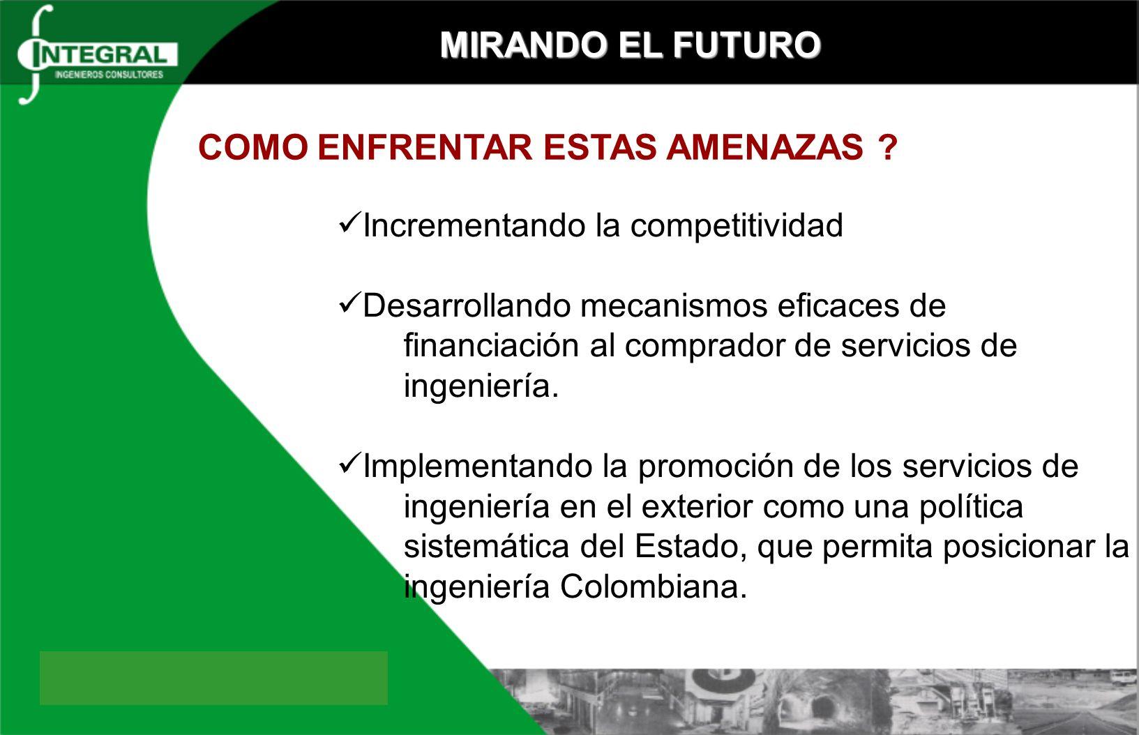 MIRANDO EL FUTURO Incrementando la competitividad Desarrollando mecanismos eficaces de financiación al comprador de servicios de ingeniería.
