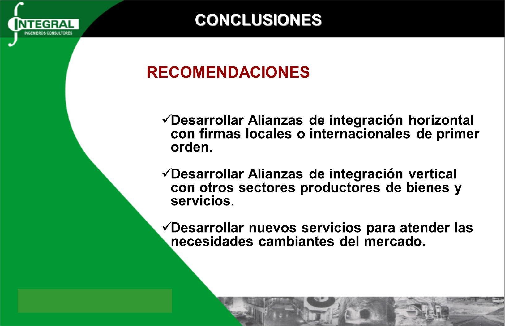 CONCLUSIONES RECOMENDACIONES Desarrollar Alianzas de integración horizontal con firmas locales o internacionales de primer orden. Desarrollar Alianzas