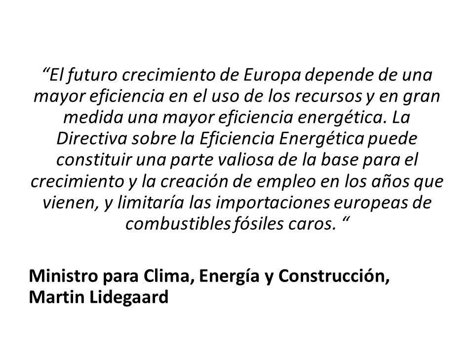 El futuro crecimiento de Europa depende de una mayor eficiencia en el uso de los recursos y en gran medida una mayor eficiencia energética. La Directi