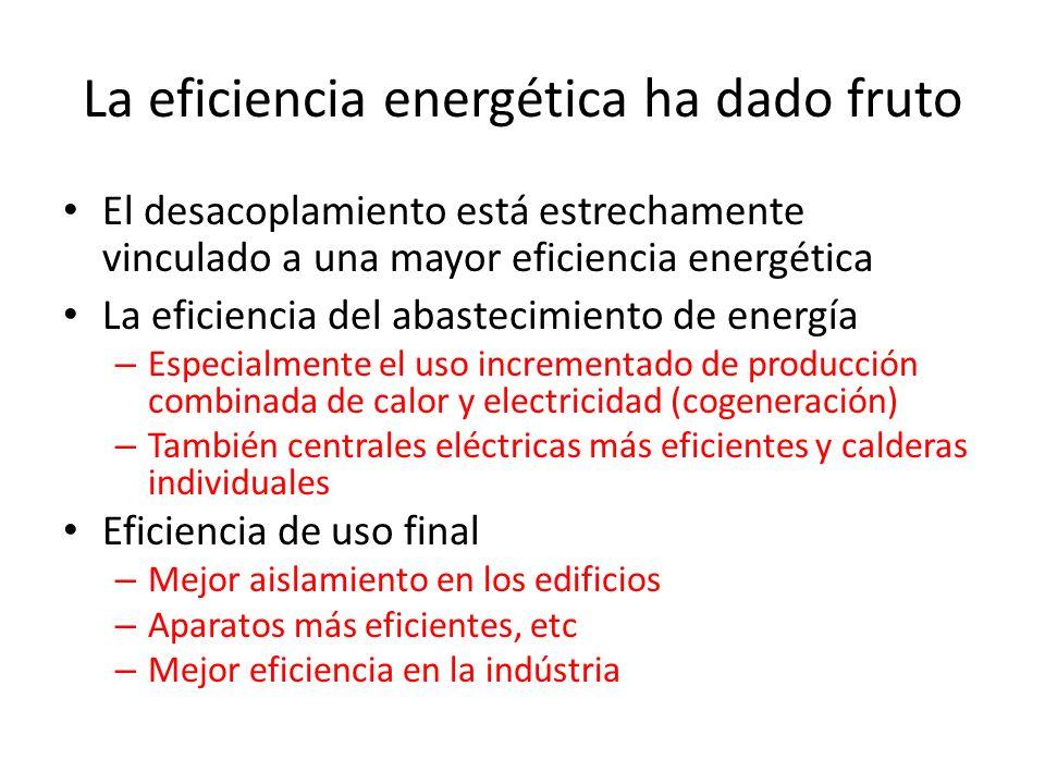 La eficiencia energética ha dado fruto El desacoplamiento está estrechamente vinculado a una mayor eficiencia energética La eficiencia del abastecimie