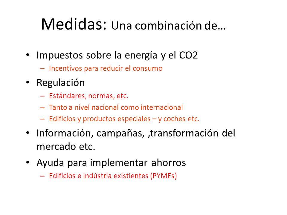 Medidas: Una combinación de… Impuestos sobre la energía y el CO2 – Incentivos para reducir el consumo Regulación – Estándares, normas, etc. – Tanto a
