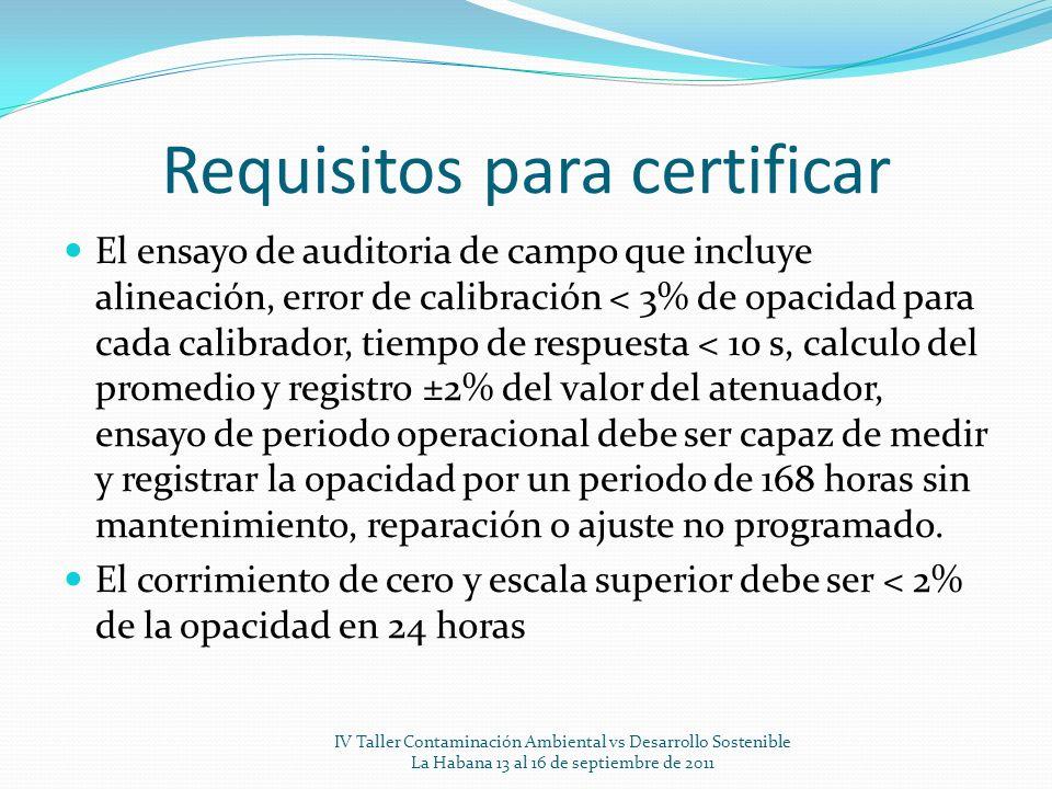 Requisitos para certificar El ensayo de auditoria de campo que incluye alineación, error de calibración < 3% de opacidad para cada calibrador, tiempo