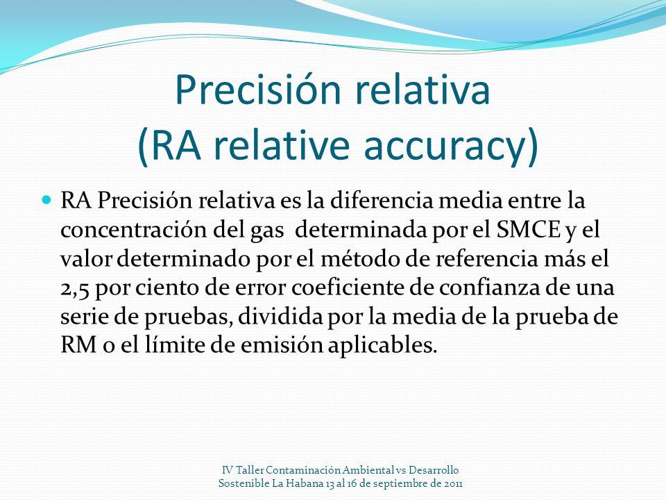 Precisión relativa (RA relative accuracy) RA Precisión relativa es la diferencia media entre la concentración del gas determinada por el SMCE y el val