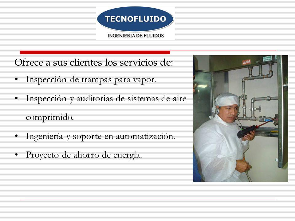 Ofrece a sus clientes los servicios de: Inspección de trampas para vapor. Inspección y auditorias de sistemas de aire comprimido. Ingeniería y soporte