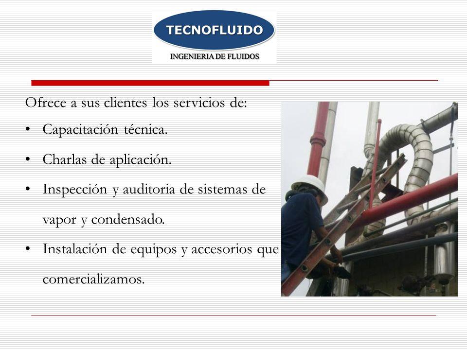 Ofrece a sus clientes los servicios de: Capacitación técnica. Charlas de aplicación. Inspección y auditoria de sistemas de vapor y condensado. Instala
