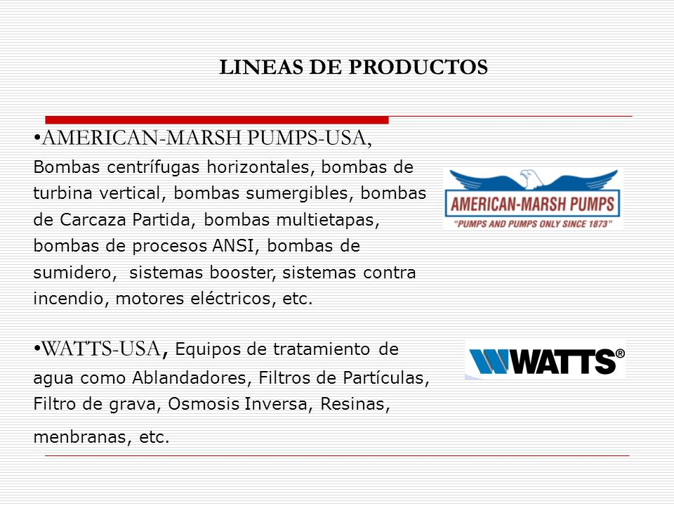 AMERICAN-MARSH PUMPS-USA, Bombas centrífugas horizontales, bombas de turbina vertical, bombas sumergibles, bombas de Carcaza Partida, bombas multietap