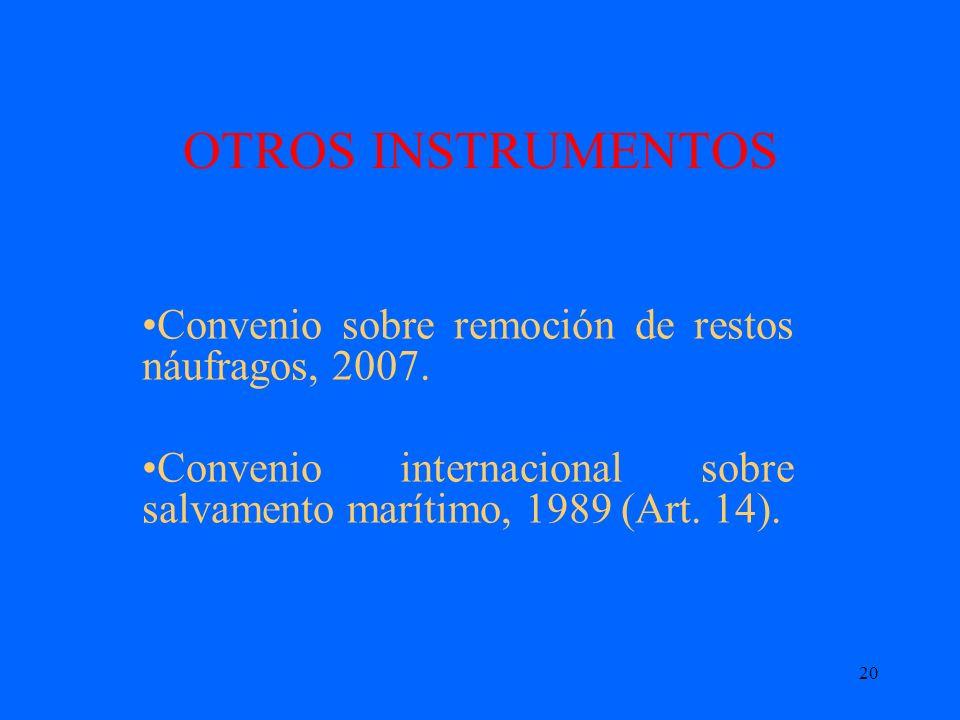 20 OTROS INSTRUMENTOS Convenio sobre remoción de restos náufragos, 2007. Convenio internacional sobre salvamento marítimo, 1989 (Art. 14).