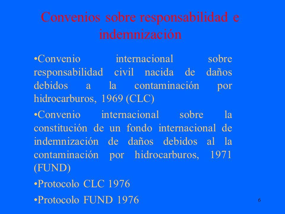 6 Convenios sobre responsabilidad e indemnización Convenio internacional sobre responsabilidad civil nacida de daños debidos a la contaminación por hi