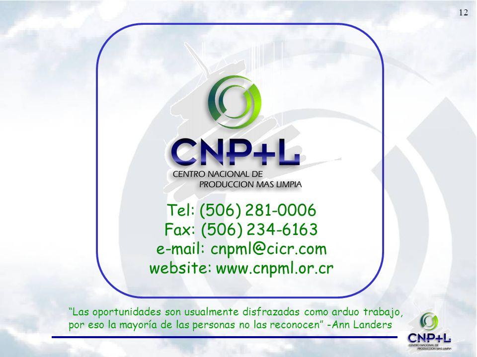 12 Tel: (506) 281-0006 Fax: (506) 234-6163 e-mail: cnpml@cicr.com website: www.cnpml.or.cr Las oportunidades son usualmente disfrazadas como arduo trabajo, por eso la mayoría de las personas no las reconocen -Ann Landers