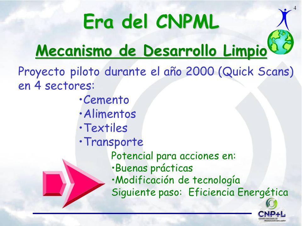 4 Mecanismo de Desarrollo Limpio Proyecto piloto durante el año 2000 (Quick Scans) en 4 sectores: Cemento Alimentos Textiles Transporte Potencial para acciones en: Buenas prácticas Modificación de tecnología Siguiente paso: Eficiencia Energética Era del CNPML