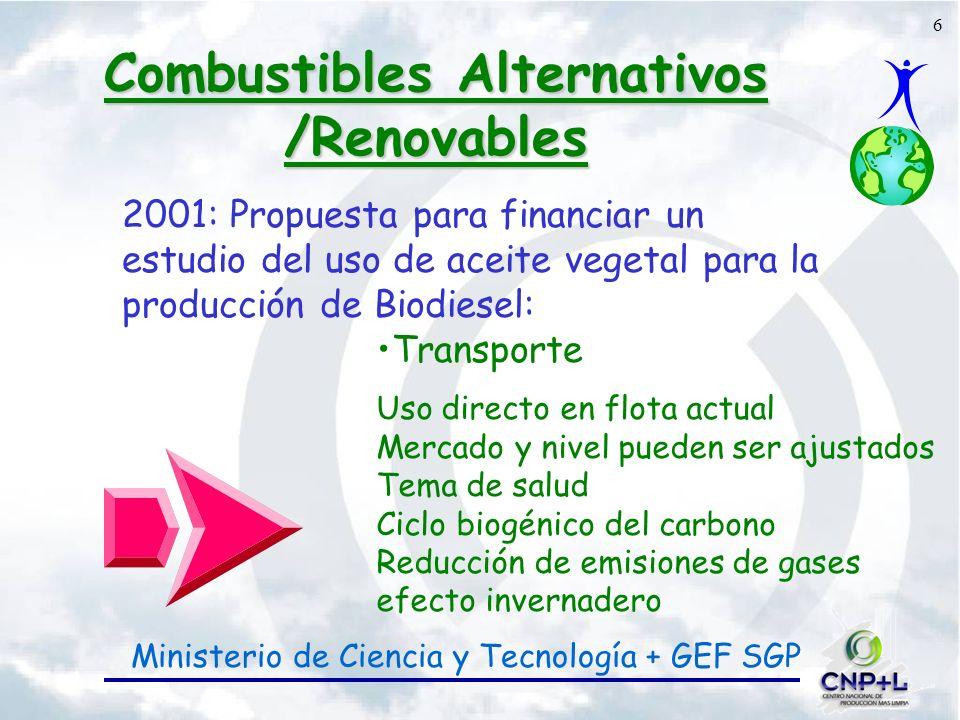 6 Combustibles Alternativos /Renovables 2001: Propuesta para financiar un estudio del uso de aceite vegetal para la producción de Biodiesel: Transporte Uso directo en flota actual Mercado y nivel pueden ser ajustados Tema de salud Ciclo biogénico del carbono Reducción de emisiones de gases efecto invernadero Ministerio de Ciencia y Tecnología + GEF SGP