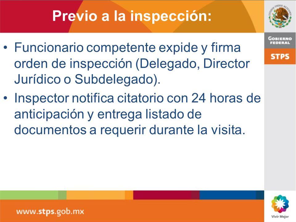Previo a la inspección: Funcionario competente expide y firma orden de inspección (Delegado, Director Jurídico o Subdelegado). Inspector notifica cita