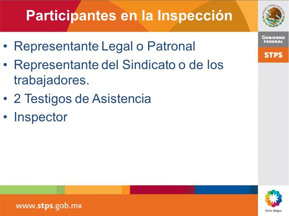 Participantes en la Inspección Representante Legal o Patronal Representante del Sindicato o de los trabajadores. 2 Testigos de Asistencia Inspector