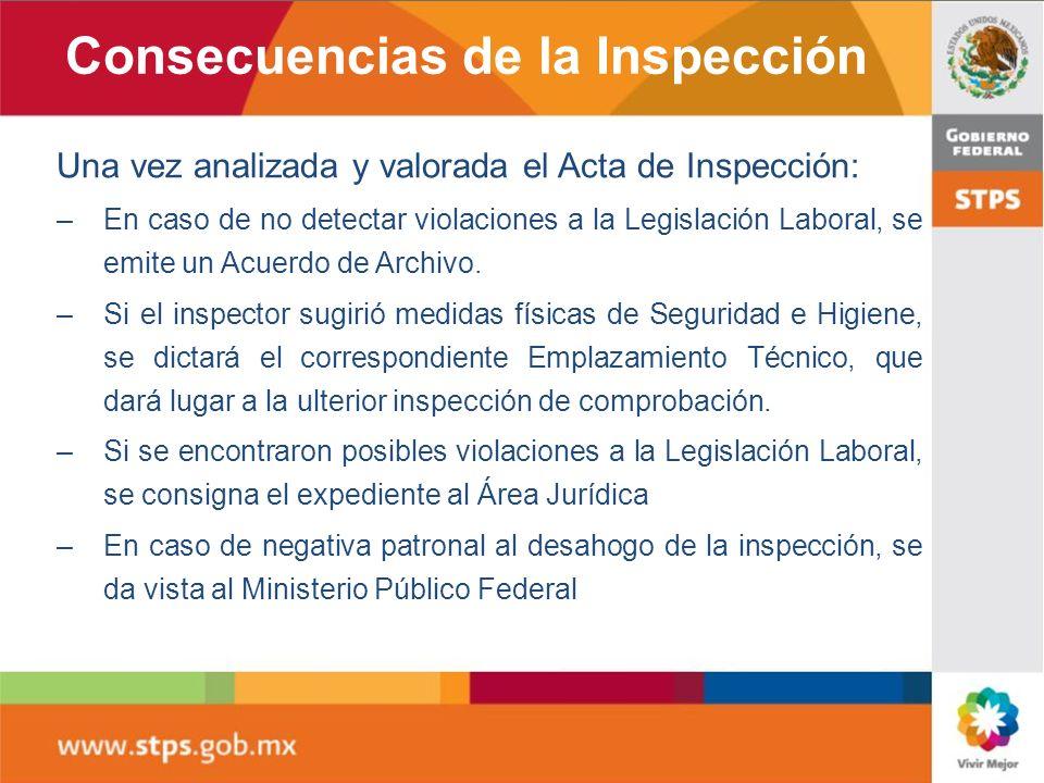 Una vez analizada y valorada el Acta de Inspección: –En caso de no detectar violaciones a la Legislación Laboral, se emite un Acuerdo de Archivo. –Si
