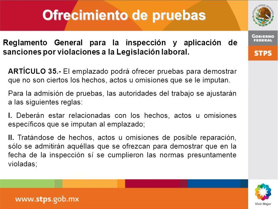 Ofrecimiento de pruebas ARTÍCULO 35.- El emplazado podrá ofrecer pruebas para demostrar que no son ciertos los hechos, actos u omisiones que se le imp