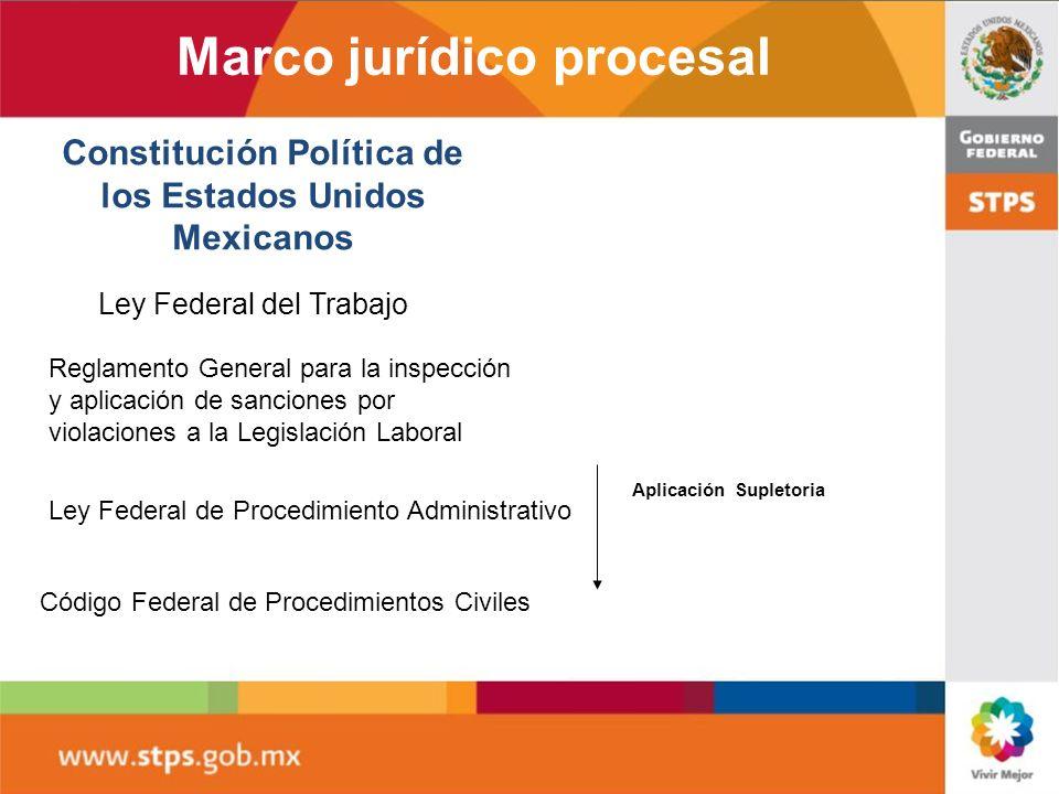 Marco jurídico procesal Constitución Política de los Estados Unidos Mexicanos Ley Federal del Trabajo Reglamento General para la inspección y aplicación de sanciones por violaciones a la Legislación Laboral Ley Federal de Procedimiento Administrativo Código Federal de Procedimientos Civiles Aplicación Supletoria
