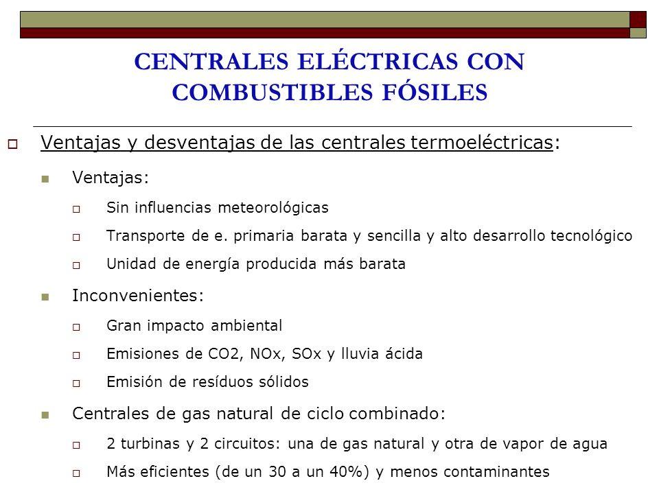 CENTRALES ELÉCTRICAS CON COMBUSTIBLES FÓSILES Ventajas y desventajas de las centrales termoeléctricas: Ventajas: Sin influencias meteorológicas Transp