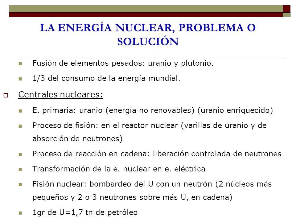 LA ENERGÍA NUCLEAR, PROBLEMA O SOLUCIÓN Fusión de elementos pesados: uranio y plutonio. 1/3 del consumo de la energía mundial. Centrales nucleares: E.