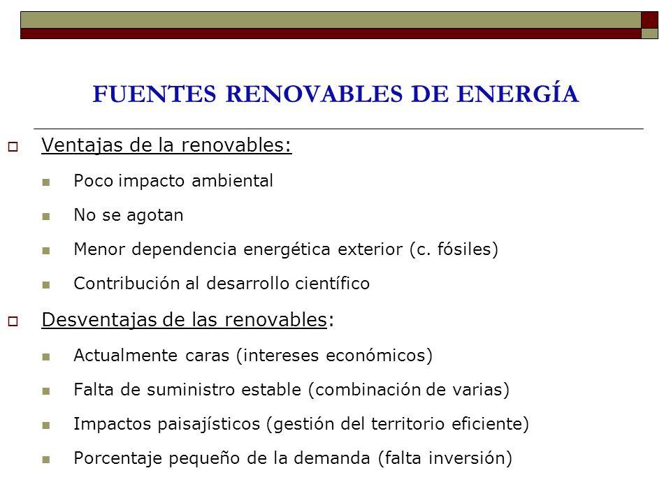 FUENTES RENOVABLES DE ENERGÍA Ventajas de la renovables: Poco impacto ambiental No se agotan Menor dependencia energética exterior (c. fósiles) Contri