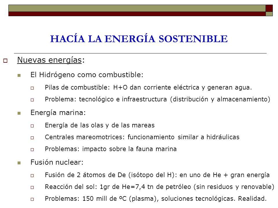 HACÍA LA ENERGÍA SOSTENIBLE Nuevas energías: El Hidrógeno como combustible: Pilas de combustible: H+O dan corriente eléctrica y generan agua. Problema